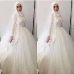 Wholesale Floral Skirt Models - 2016 Arabic wedding dress Ball Gown Wedding dresses Arab muslim islamic wedding dress Dubai Arabic Lace Wedding Dresses Bridal
