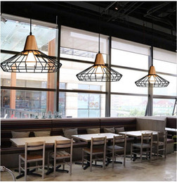 Wholesale Pendant Lights Led Restaurant - Loft Iron Pendant Light Vintage Industrial Lighting wooden chandeliers Bar Cafe Bedroom Restaurant Nordic Country Style Iron Hanging Light