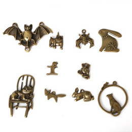 Wholesale Wholesale Bronze Jewels - Free shipping New Wholesale 66pcs lot Mixed Tibetan Zinc Alloy Cat Bat Charms Antique Bronze Plated Pendants For DIY Jewelry Findings jewel