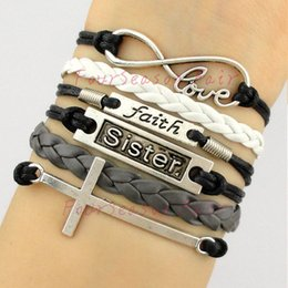 Wholesale Cross Leather Cord - Custom-Infinity Love Faith Sister Cross Charm Wax Cords leather Wrap Bracelet & Bangles Adjustable Bracelet For Best Gift-Drop Shipping