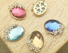 Wholesale Craft Clips - 50pcs Oval Rhinestone Crystal Beads Flower Button Flatback For Scrapbooking Craft DIY Hair Clip Accessories