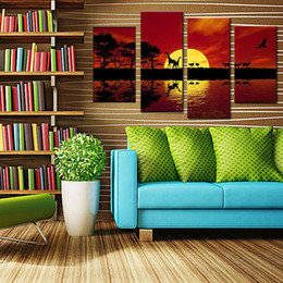 Wholesale Oil Painting African - 4 Picture Combination Giclee Canvas Prints Landscape Artwork African Red Tone Pictures Photo Paintings Wall Art Home Decor