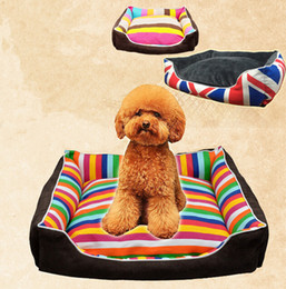 Wholesale Large Cat Kennel - Lovely Rainbow Stripe Pet House Warm Good Quality Dog Cat House Kennel Soft Washable Pet Nest For Winter Coffee Color 4 Size Min Order 1PCS