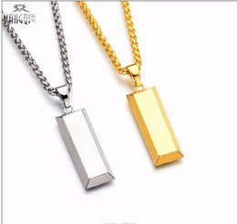 Wholesale Gold Plated Necklace Chains - Cube Bar Bullion Necklace & Pendant Gold Plated SUPREME necklace Hiphop BRAND Dance Charm Franco Chain Hip Hop Golden Jewelry For Gifts