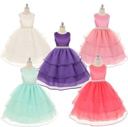 Wholesale Layered Autumn Clothes - 2016 New Fashion Girls Dresses Baby Kids Sleeveless Layered Wedding Bridesmaid Party Dresses Formal Children Clothes