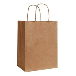 Wholesale Paper Shopping - Wholesale- Small Brown Kraft Paper Bags With Handles Environmental Shopping Bag Fashionable Gift Paper Bag 12pcs