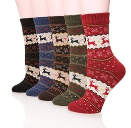 Wholesale Warm Sock Men - Women Socks Christmas Deer Cartoon Design Casual Knit Wool Socks Men Winter Warm Shorts Ankle Socks Meias Calcetines