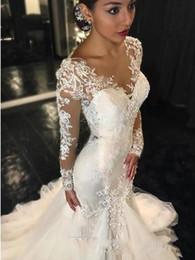 Wholesale lace fishtail v neck - 2017 New Gorgeous Lace Mermaid Wedding Dresses Dubai African Arabic Style Petite Long Sleeves Natural Slin Fishtail Bridal Gowns Plus Size