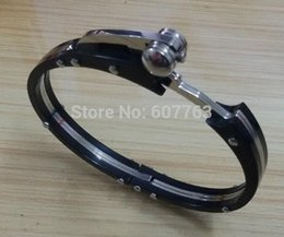 Wholesale Hand Cuffs Black - 316L Stainless Steel Plastic Combined Black Silver Unique Hand Cuff Bangle Bracelet, Mechanical Engineering Design Bangle