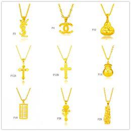 Wholesale Wholesale 24k Gold China - Wholesale fashion 24k gold pendant (not contain chain )9 pieces a lot mixed style, cross abacus Fukubukuro yellow gold pendant DFMKP9