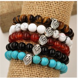 Wholesale Strands Pearl Natural - Bohemian jewelry natural agate beads bracelet evil transit Lionhead Thanksgiving Day present Free shipping shoppin g crazy