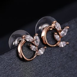 Wholesale Tin Rose Jewelry Box - Plated Rose Gold Leave Crystal Stud Earrings Fashion Statement Jewelry For Women Free Box and Shipping