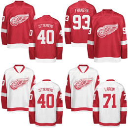 Wholesale Detroit Patch - Detroit Red Wings Jersey 40 Henrik Zetterberg Captain C Patch 55 Niklas Kronwall 61 Xavier Ouellet Custom Hockey Jerseys Mix Order