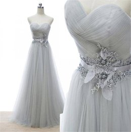Wholesale Grey Beaded Strapless Dress - Grey Strapless Pleated Top Lace Waist A Line Tulle Prom Bridesmaid Dress 2016 for Women Sweetheart Neck