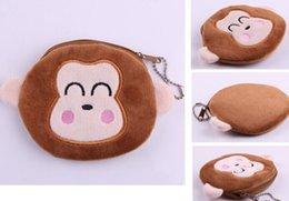 Wholesale Monkey Cute Case - 6PCS Plush Cotton 10*10CM Cute Monkey - Hand Coin Purse Wallet Pouch Case BAG ; Women Lady Bags Pouch Makeup Case Holder BAG Handbag