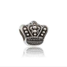 Wholesale Cheap Pandora Beads - 30pc European Silver Plated Big Hole Charms Spacer Loose Beads Fit Pandora Bracelets 925 Jewelry Crown for Sale Girls Mom Handmade Diy Cheap