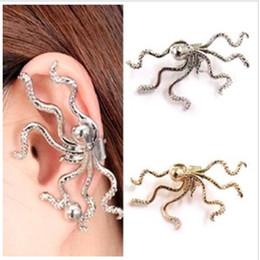 Wholesale Girls 14k Gold Stud Earrings - Earrings for Woman Girl Jewelry 1pc Fashion Women Punk Rock Retro Octopus Stud Ear Wrap Cuff Clip Buckle Earring Punk Earrings