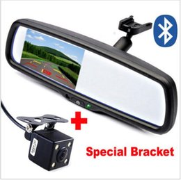 "Wholesale Mirror Rear Bluetooth Camera - 4.3""Car Bracket Rear view Mirror Monitor With Bluetooth Speaker Kit + CCD Rearview Camera. For Toyota Mazda Nissan Kia Hyundai"