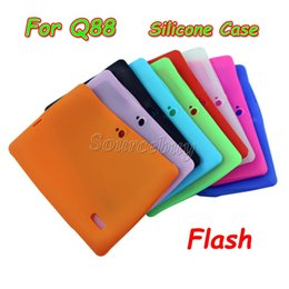 Wholesale Quad Flash - 120pcs Colorful Silicone Case Cover For Q8 Q88 With Flash Light Flashlight A33 Quad-core Android 4.4 Tablet PC 7 Inch Protective Shell
