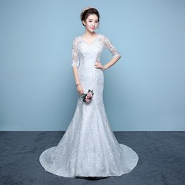 Wholesale Embroidery Fish - wedding dress 2017new waist fish tattoo wedding dress bride Slim thin banded v-collar wedding dress Chinese style retro long tail dress-y