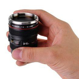 Wholesale Coffee Cup Key - Mini Camera Lens Mug Cup 24-105mm Coffee Tea Travel Mug Stainless Steel Thermos w  Portable Key Chain Keyring caneca Copos