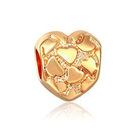 Pandora gold murano online-Herz perlen vergoldung Europäischen Murano Glasperlen Fit Europa pandora Schmuck Charms DIY Armbänder anhänger