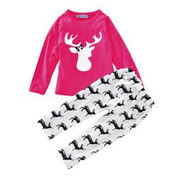 Bebé trajes navideños estilo coreano moda Niños pequeños niños niñas Ropa Ciervo manga larga + Pantalones de algodón Trajes top conjunto casual 0-4T desde fabricantes