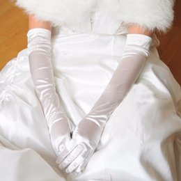 Wholesale Pink Satin Gloves - Elegant In Stock Wholesale Or Retail Free Size White Finger Opera Long Bridal Gloves For Wedding