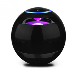 Wholesale Mini Bluetooth Speaker Ball - Wholesale- Portable Ball Shaped Hands Free Speaker Mini Bluetooth Speaker with LED and 3.5mm AUX Line-In for Computer Smartphone Speakers
