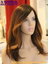 Wholesale Two Tone Blonde Ombre Hair - 100% Human Hair Black Brown Blonde Ombre Silk Top Full Lace Wigs 130%Density Brazilian Virgin Hair Glueless Two Tone Blonde Lace Front Wigs