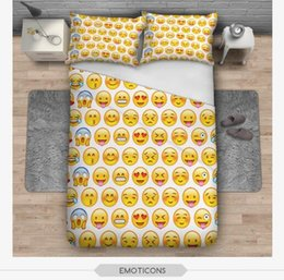 Wholesale Twin Beds For Kids - BeddingOutlet Emoji Bedding Set Cute and Fashion Duvet Cover for kids Printed Bedlinen 3Pcs Twin Full Queen King Bedspreads