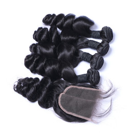 Wholesale Tangle Free Weaves - 7A High Quality Brazilian Indian Malaysian PeruvianLoose Wave with 4*4 Loose Wave closure No Tangle No Shedding Soft Full Free Shipping DHL