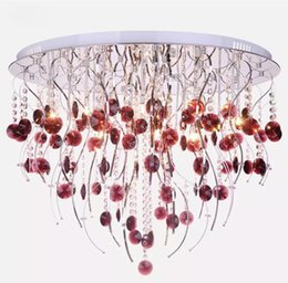 Wholesale Lighted Willow - Post-Modern Creative K9 Crystal Chadelier Willow twig LED Ceiling Lamp Wine red Crystal Chandelier Living Room Hotel Lamp
