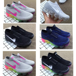 Wholesale Rainbow Children - Laceless Air vapor 2018 Platinum Kids running shoes Grey white Rainbow Infant & Children Sports shoes toddler trainer boy & girl sneaker