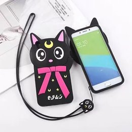 Wholesale Moon Cases - 3D Cartoon Luna Case For Iphone 7 6 6s Plus Samsung S7 edge Japan Sailor Moon Bow black Cat Case Soft Silicone Cover With Lanyards OPPBAG
