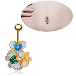 Wholesale dance belly button rings - Hot! Body Piercing Butterfly Rhinestone Navel Barbell Belly Dance Button Ring Barbell