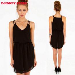 Wholesale Chiffon V Neck Black Shirt - 2016 New Women Summer Dress Black Red Double-strap Chiffon Dress Sexy V-neck Slim Waisted Vestidos summer style Maxi Dresses