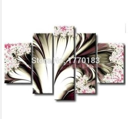 Hand Painted Modern Phoenix Flower Paintings On Canvas 5 Piece Abstract Oil Picture Art Dining Room