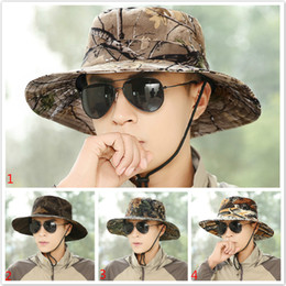 Wholesale Grass Shades - Camouflage sun net shade military hat breathable fishing hat man outdoor wide edge fisherman hat man