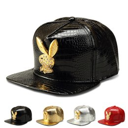Wholesale Ear Domes - 2016 Vogue Rabbit ear Crocodile Baseball Caps Faux Leather Snapback Hats Gold Rhinestone hip hop rap hat for men women casquette cap