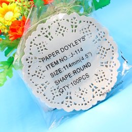 Wholesale Cake Doilies - Wholesale-100pcs 4.5inch=11.4CM Eco-Friendly Grease-Proof White Paper Doilies For Party Wedding Christmas Table Decorative Cake Holder