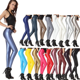 Wholesale Leggings Color Candy Stretch - Fashion Women PU Faux Leather Slim Pants High Waist Leggings Pants Fleece Stretch Skinny Pencil Capris candy colors women clothing xmas gift