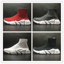 Wholesale High Top Hiking Shoes - 2017 Women's Black Sock Booties,Men and Women's Black Speed Knit Sock High-Top Sneakers, Speed Trainer Sock Race Runners Black sports Shoes