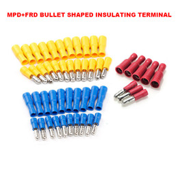 Wholesale female terminal - 22-16AWG 16-14AWG 12-10AWG MPD+FRD Series Female Male Insulated Wire Cable Butt Connectors Terminals Bullet Shaped 100sets