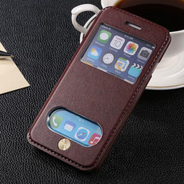 Wholesale Deluxe Iphone 5c Case - Deluxe Double Open View Window Flip PC + PU Leather Case For iPhone 5 5S SE   4 4s  5C Phone Cases Stand Shell Protective Cover