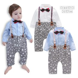 Wholesale Tie Downs Straps - Hot sell England Style new arrivals autumn baby kids Star Print climbing romper cotton long sleeve Mustache bow tie gentleman straps romper
