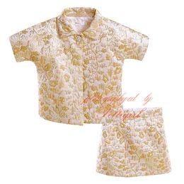 Золотые юбки онлайн-Pettigirl девушки ретро Золотой 2 шт. комплект одежды для весны и лета отложным воротником цветы пальто + юбка детские костюмы CS90324-724F