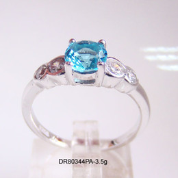 Wholesale Blue Topaz Ring Sterling - Fashion jewelry Wedding Ring 925 Sterling Silver Shinny Blue Topaz Rhodium plating DR80344PA-3.5G-1 Free Shipping