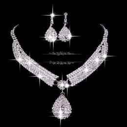 Wholesale Cheap Necklace Sets Weddings - 2016 Fashion Bridal Wedding Accessories Necklace and Earrings Veu De Noiva Elegant Cheap Silver Free Shipping In Stock Bridal Accessory