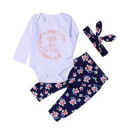 Wholesale newborn cotton butterfly - 2017 Hot Newborn Baby Clothes Suit Lovely Letters Elephant Romper Retro Flower Long Pants Hairband 3pcs Geometirc Butterfly Kids Cotton Sets